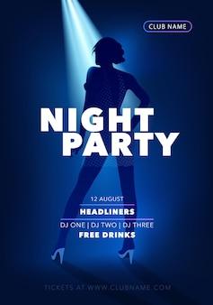 Night party vector flyer, poster met dansend meisje. discoclub aankondiging. muzikaal optreden of concert tijdens festival