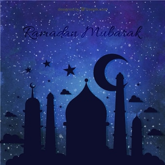 Night ramadan achtergrond met een moskee