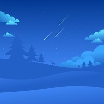Night sky landscape vallende sterren aard achtergrond