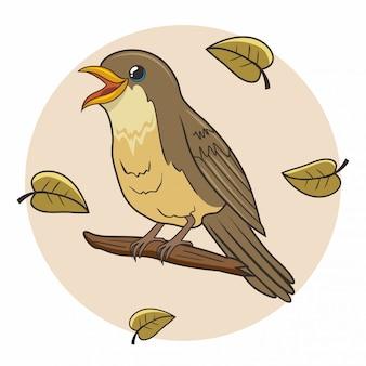 Nightingale bird cartoon schattige dieren