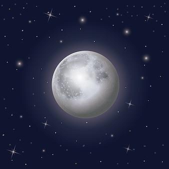 Nightly achtergrond van de hemelscène met rond maan en sterren