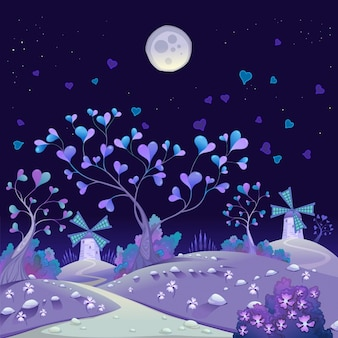 Nightly veerkrachtig landschap met windmolens grappig cartoon en vector illustratie