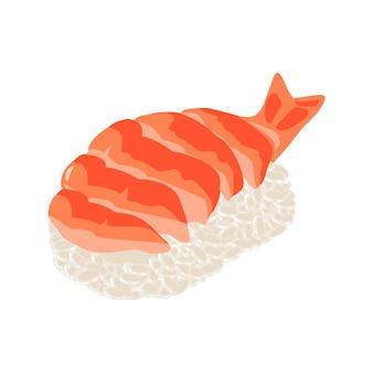 Nigiri sushi met garnalen geïsoleerd op wit vector egale kleur illustratie voor pictogram en menu