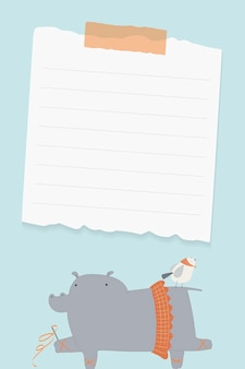 Nijlpaard ballerina briefpapier vctor