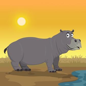 Nijlpaard cartoon in de tuin