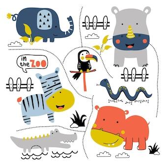 Nijlpaard en vrienden in de dierentuin grappige dieren cartoon