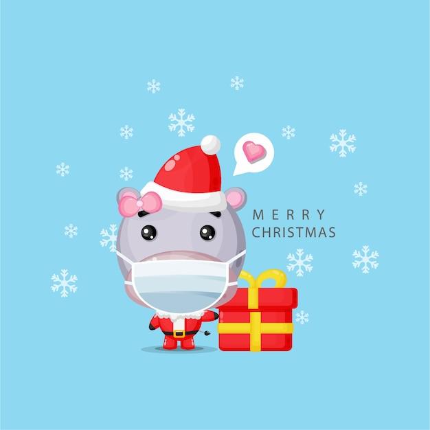 Nijlpaard in een kerstman kostuum