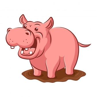 Nijlpaard in modder cartoon kunst en illustratie