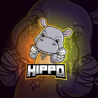 Nijlpaard mascotte esport kleurrijk logo