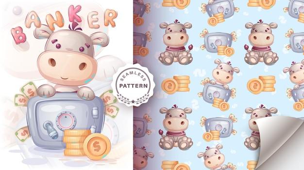 Nijlpaard met veilig geld naadloos patroon vector eps 10