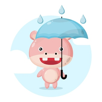 Nijlpaard paraplu regen schattig karakter