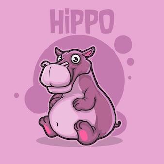 Nijlpaard schattige baby dier hippo wildlife mascotte cartoon logo karakter bewerkbaar
