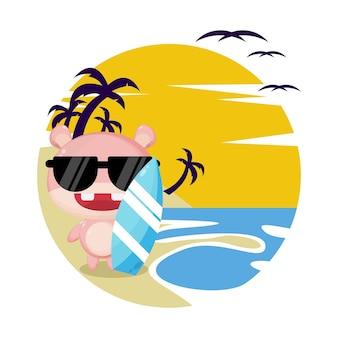 Nijlpaard strand zomer schattig karakter logo
