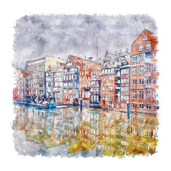 Nikolaifleet hamburg duitsland aquarel schets hand getrokken illustratie