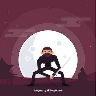Ninja achtergrond met maan
