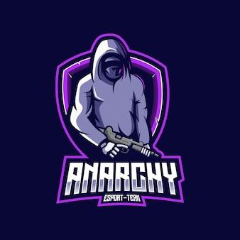 Ninja anarchie mascotte logo ontwerp Premium Vector