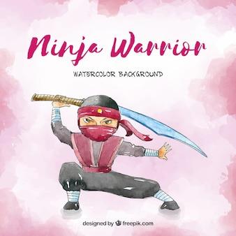 Ninja aquarel achtergrond