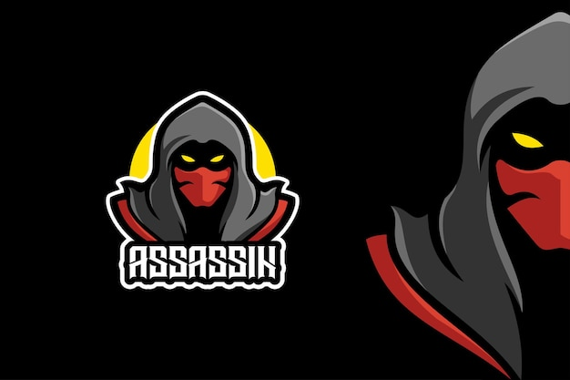 Ninja assassin warrior mascotte karakter logo sjabloon