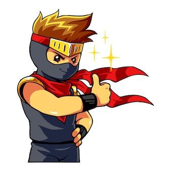 Ninja boy geeft duim omhoog.