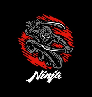 Ninja die twee zwaarden in schaduw met rode maanillustratie houdt