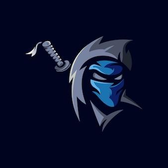 Ninja e-sport mascotte logo ontwerp illustratie