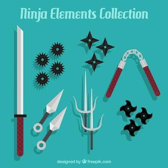 Ninja-elementencollectie met plat ontwerp