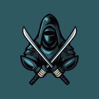 Ninja esport mascotte logo ontwerp. donkere ninja met zwaard