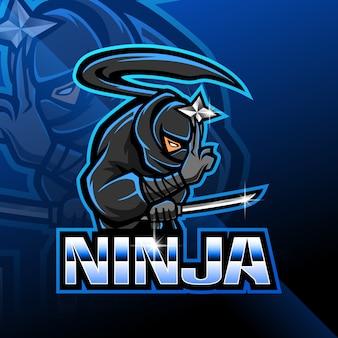 Ninja esport mascotte logo ontwerp