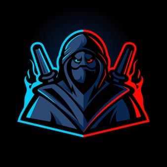 Ninja esport mascotte logo ontwerpsjabloon