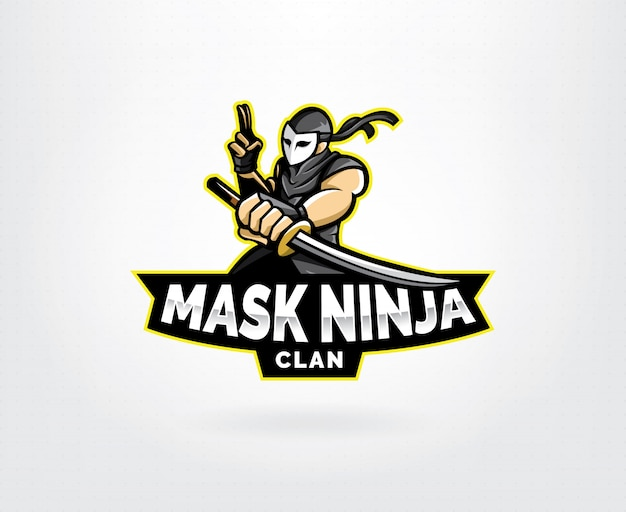 Ninja esports mascotte logo ontwerp