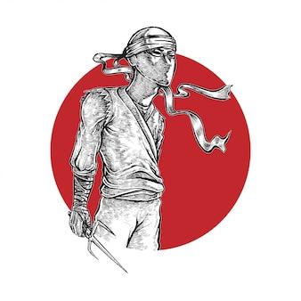 Ninja holding weapon illustratie