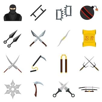 Ninja-hulpmiddelenpictogrammen die in vlakke stijl worden geplaatst
