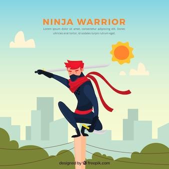 Ninja karakter achtergrond met platte ontwerp