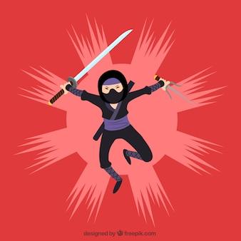 Ninja-karakter met katana en mes