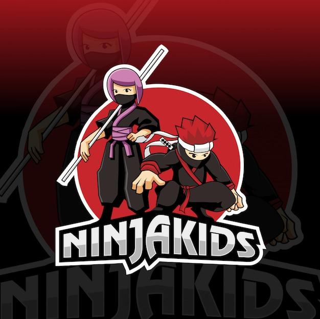 Ninja kids esport logo ontwerp