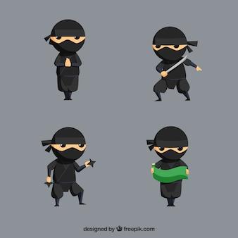 Ninja-krijger in verschillende poses met plat ontwerp