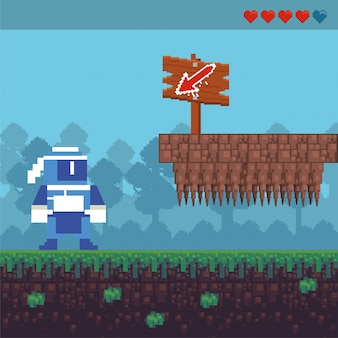 Ninja krijger van de videogame in pixelated scène
