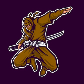 Ninja logo mascot character op donkere achtergrond