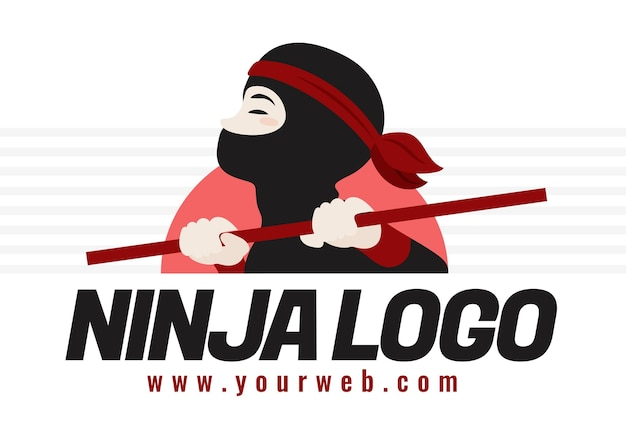 Ninja-logosjabloon in plat ontwerp