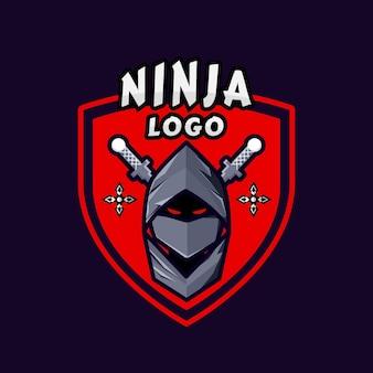 Ninja-logosjabloon in vlakke stijl