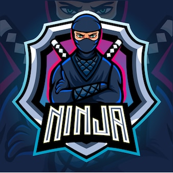 Ninja mascotte esport logo ontwerp