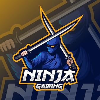 Ninja mascotte esport logo