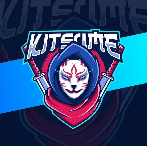 Ninja mascotte kitsune logo logo ontwerp