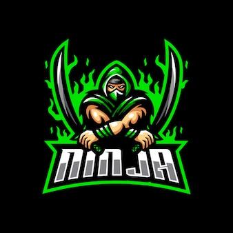 Ninja mascotte logo esport gaming