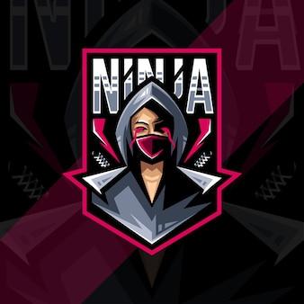 Ninja mascotte logo esport ontwerp