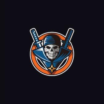 Ninja-mascotte voor esport-logo