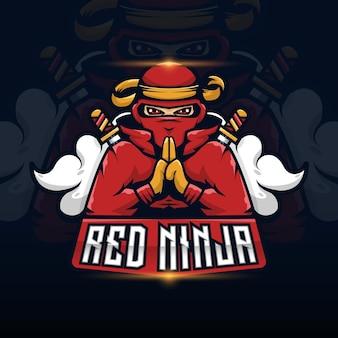 Ninja-mascotte voor esport met logo-gaming