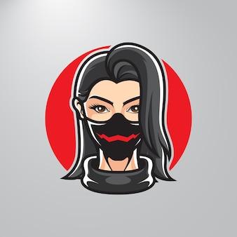 Ninja meisje hoofd sport logo
