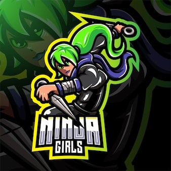 Ninja meisjes esport mascotte logo ontwerp