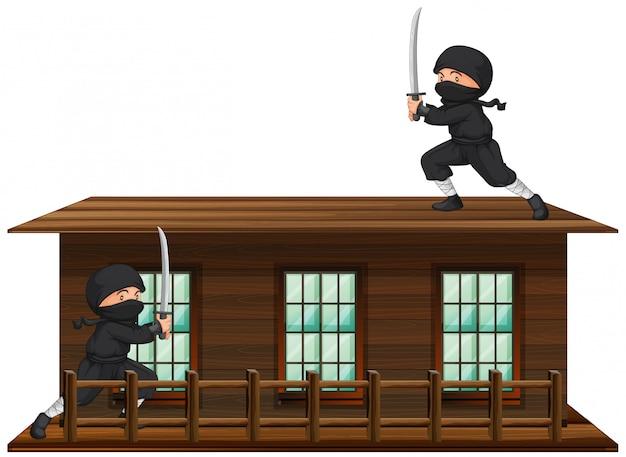 Ninja met zwaard op het dak